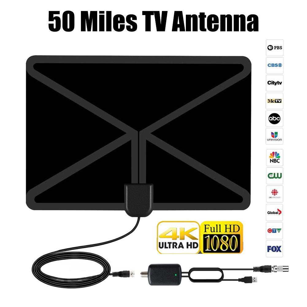 Цифровое ТВ высокой четкости антенна дальность 80 миль Поддержка диапазона для 4 K 1080 P HD ТВ антенный усилитель антенна адаптер усилителя сигнала-in TV-антенна from Бытовая электроника