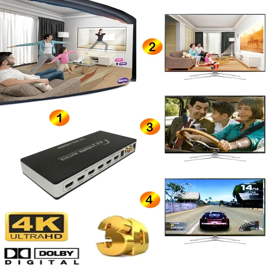 Commutateur Audio 4 K HDMI commutateur 4 k 4 en 2 sortie HD 3D 1080 P HDMI Matrix 4X2 numérique toslink audio + L/R avec adaptateur d'alimentation Romote