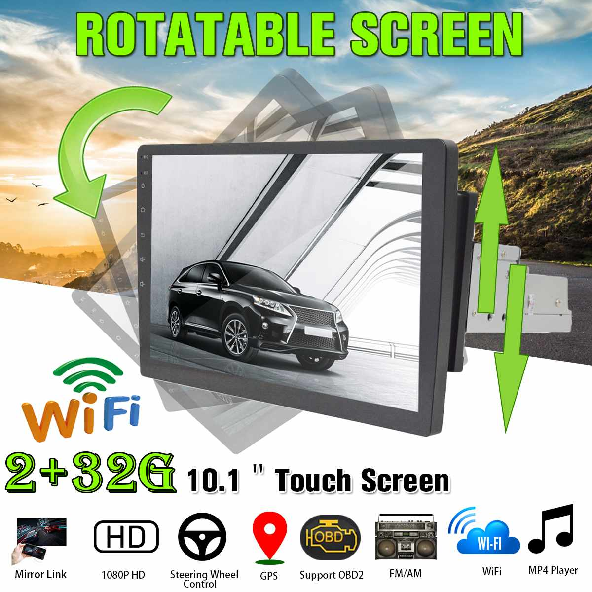 2G+32G Rotatable Car Multimedia Player 10.1for Android 8.0 1Din 8 Core Car Stereo GPS Nav WiFi Radio MP5 Player Universa image