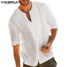 2019 Autumn White Men T Shirts Long Sleeve Tee Shirts Loose Chemise Hombre Casual Shirts Dress Vacation Shirts Camisa Masculina