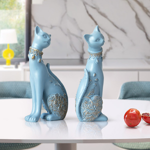 Image 5 - Figurine Cat Decorative Resin statue for home decorations European Creative wedding gift animal Figurine home decor sculpture