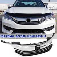 Chrome + Matte Black For Honda for Accord Sedan 4D 9.5th 2016 2017 Front Bumper Grille Upper Top Grill Assy