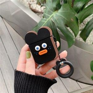 Image 4 - Funda para Airpods 2 accesorios bonitos auriculares Bluetooth funda protectora para airpods silicona con correa de anillo dibujos animados Brunch