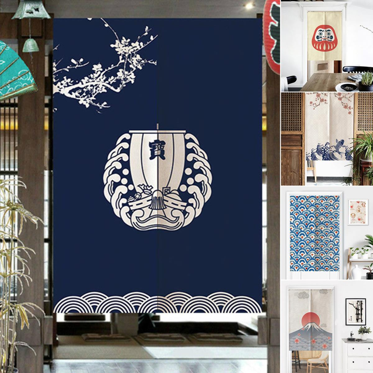 Japanese Noren Doorway Curtain Romantic Blossom Cherry Tapestry Kitchen Curtains 85X150cm Home Decorative Door Curtain