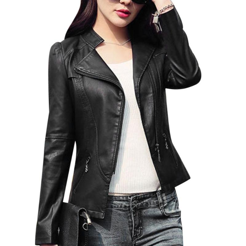 Faux Leather Slim Fit Basic Jackets Zipper Pockets Women Stand Collar Coat