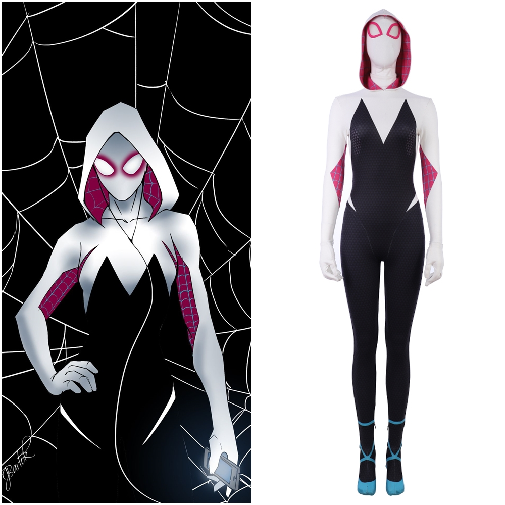 New Spider Man: Into The Spider-Verse Spider Woman Gwen Stacy Cosplay Costume Outfit 3D Printed