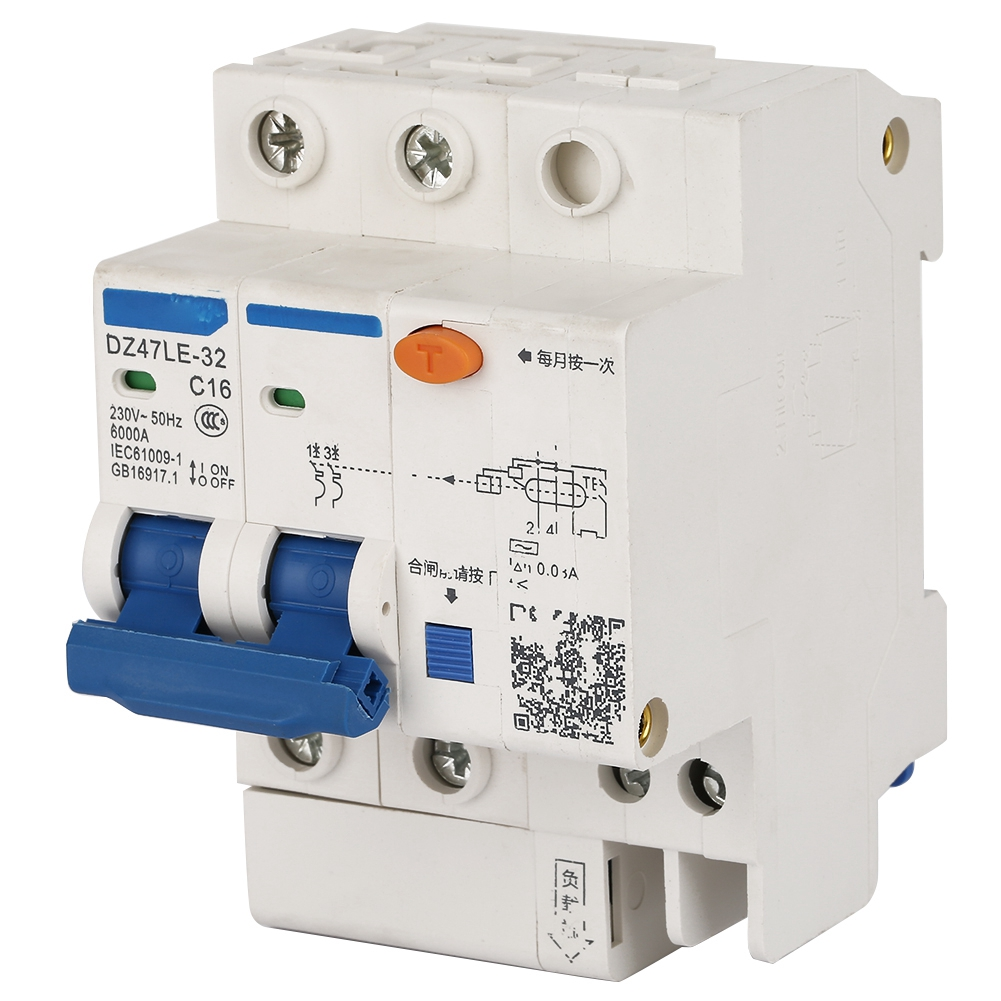 Leakage Protection DZ47LE-32 2P+2 C16 Residual Current Circuit Breaker 230V/16A circuit breaker dc  - buy with discount