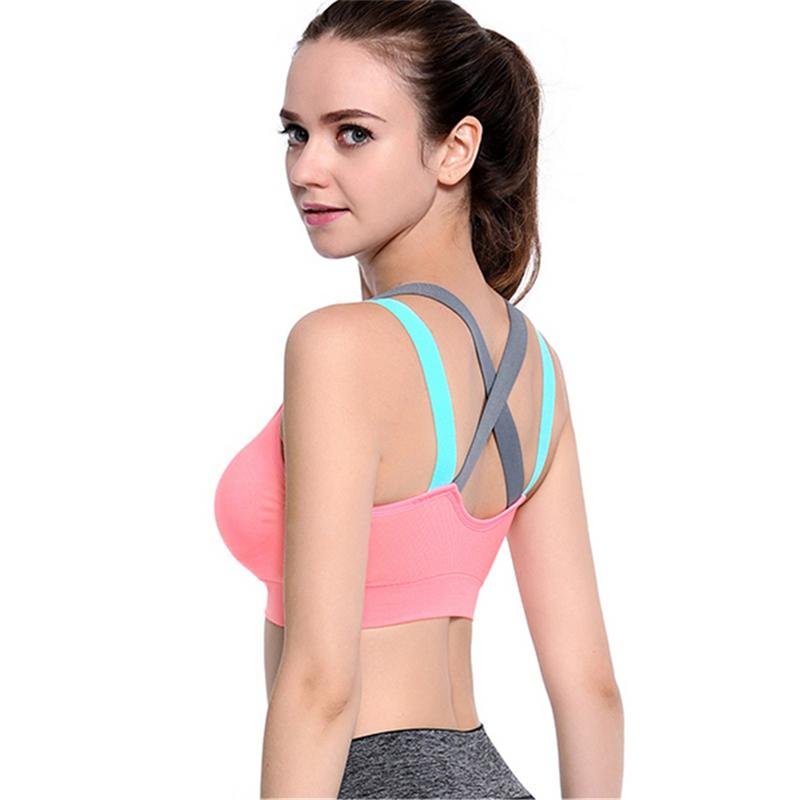 Hot Sports Bra Full Cup Breathable Top Shockproof Cross Back Push Up Workout Bra For Women Gym Running Jogging Yoga Fitness BraHot Sports Bra Full Cup Breathable Top Shockproof Cross Back Push Up Workout Bra For Women Gym Running Jogging Yoga Fitness Bra