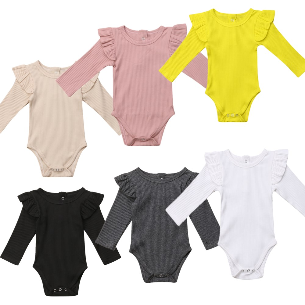 852b529e067e Summer Newborn Infant Baby Girl Solid Romper Jumpsuit Outfit Clothes Baby  Clothing