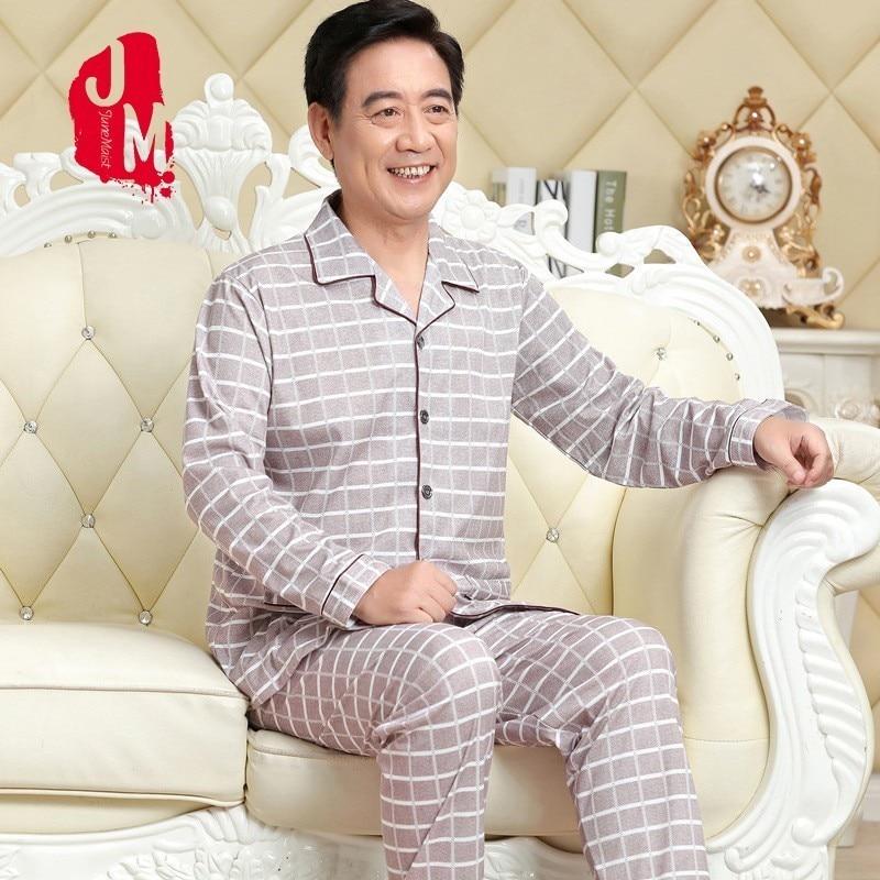 Pajama Man Cotton Men-Set Long-Sleeve Male Solid Autumn XXXL Cardigan Turn-Down-Collar