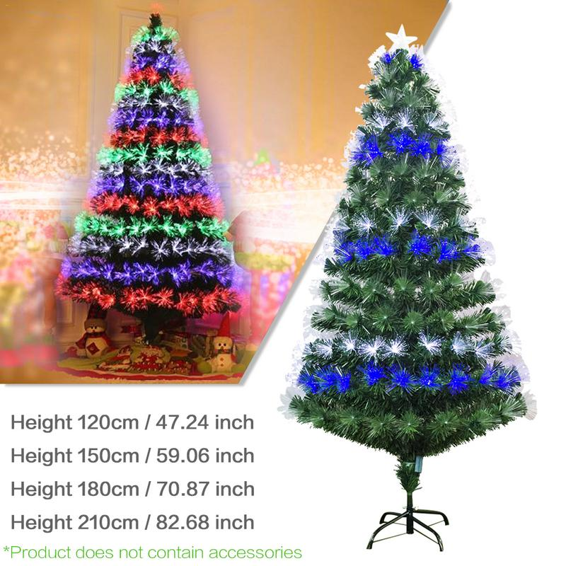 De 1.2/1.5/1.8/2.1m Multi-specification Colorful Optic Fiber Lamp Green Christmas Tree Iron Stand Home Festival Decoration Craft Rapid Heat Dissipation Trees Home & Garden