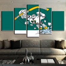 New 5 Piece HD Print Ice Hockey Sport Duck Logo Painting Canvas Wall Art Picture Home Decoration Living Room