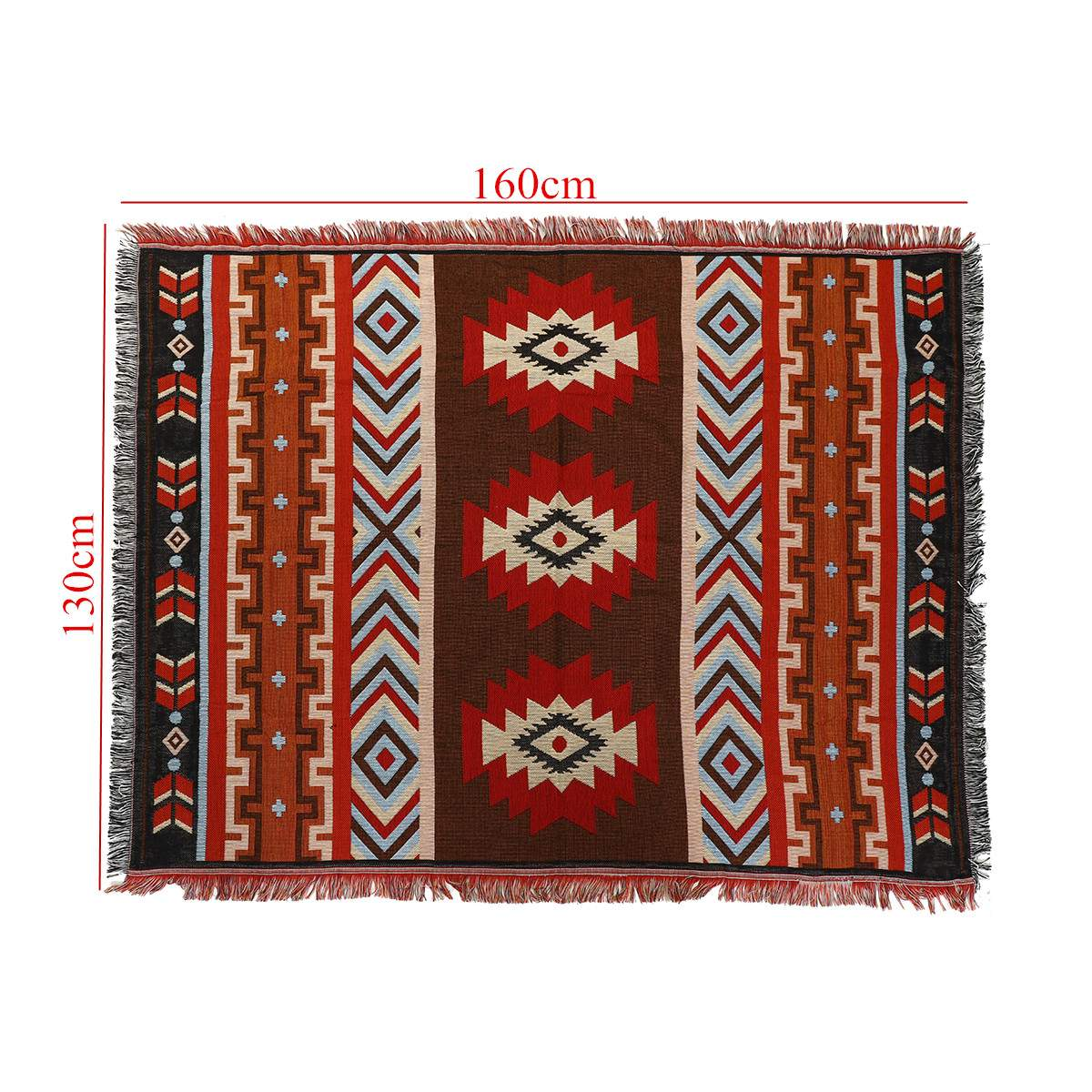 130x160cm Aztec Navajo Throw Blanket Mat Wall Hanging Cotton Rug Mat Towel Woven Geometric Textiles Bedding Home Decoration