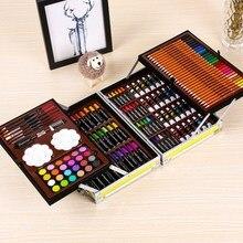145 шт Набор для рисования в алюминиевой коробке, водный цвет с кисточкой, ручка, цветной свинец, портативный пигмент для рисования, товары для творчества