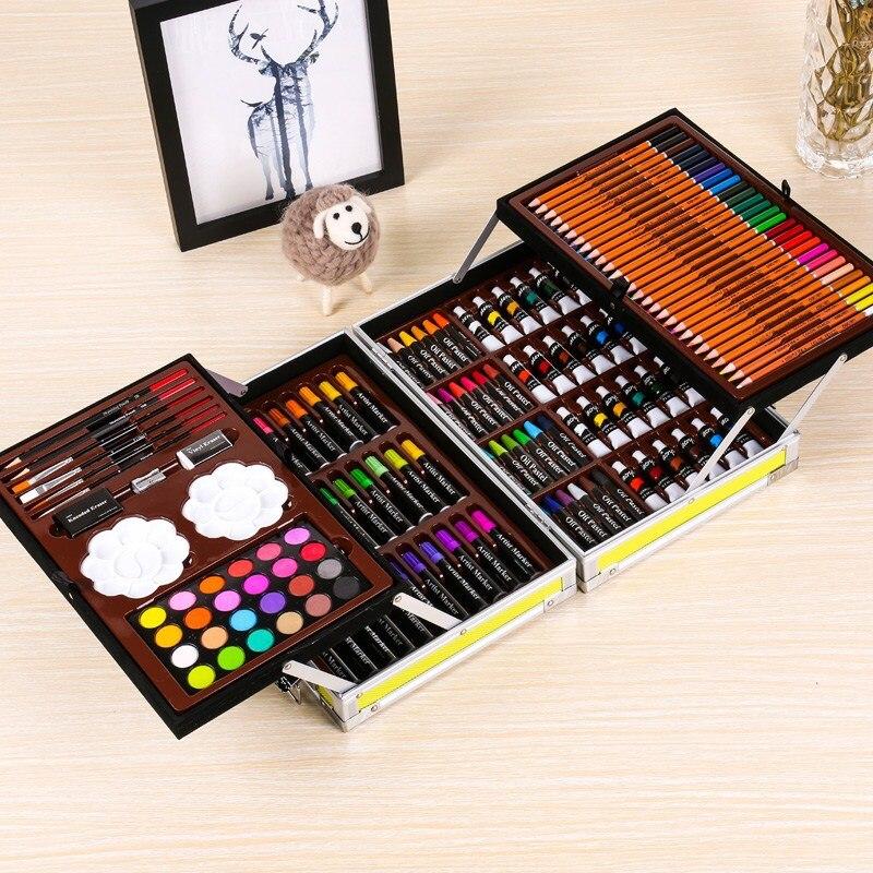 145 pièces boîte en aluminium peinture ensemble aquarelle avec eau brosse stylo couleur plomb Portable aquarelle Pigment pour dessin Art Supplie