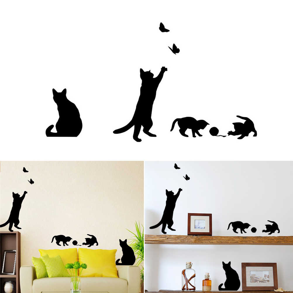 Cat Wall Sticker Removable Art Murals Wall Decals for Bedroom Living Room TV Background Stairs Decoration
