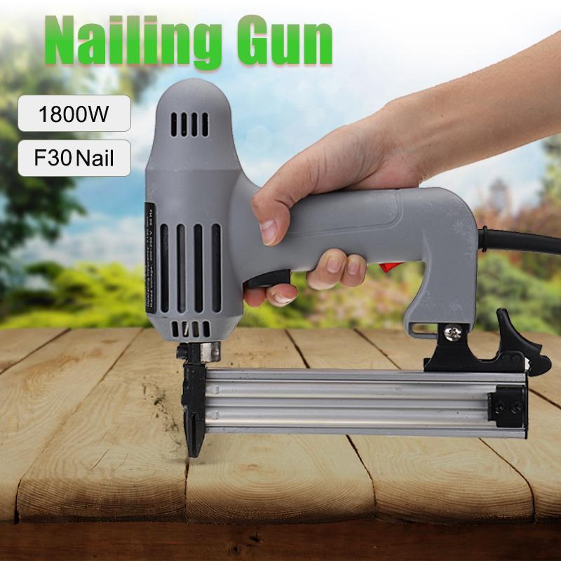 1800W 100/min Electric Stapler Cordless Nail Guns F30 Single Straight Pneumatic Nail Guns Woodworking Tool 220V 10-30mm