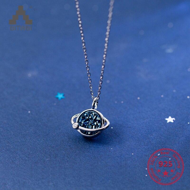 100% Wahr 925 Silber Halskette Weiblichen Koreanischen Mode Süße Blau Diamant Stern Temperament Stern Schlüsselbein Halskette Weibliche