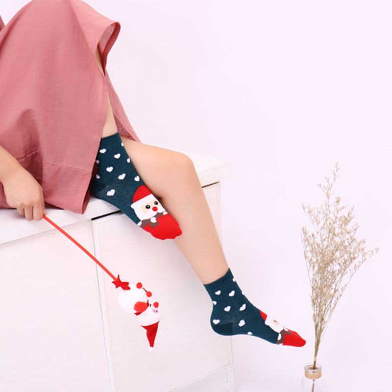 2019 Christmas New Design Women Lovely Santa Claus Socks Cute Unisex Cartoon Style Fashion Cotton Girls Printing Tube Soft Socks Up-To-Date Styling