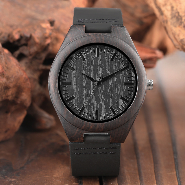 Engraved Woodern Watch DIY Words TO MY Boyfriend Pattern Quartz Wooden Watch Geniur Leather Band Souvenir Gifts For Boyfriend 1