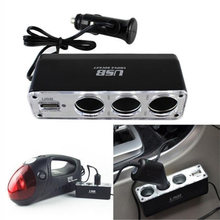 3 Way Charger Car Cigarette Lighter Power Spliter USB Triple Car Socket Charger DC 12-24V Car Cingarette Lighter(China)
