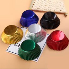 Free Shipping 100pcs Gold/Silver/Red/Blue/Black/Rose Foil Paper Cupcake Liners Pure Color baking muffin Cup cake Wrappers case !