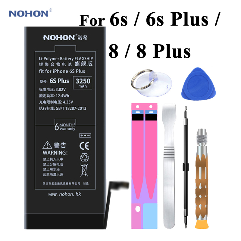 Original Nohon Battery For Apple iPhone 6s Plus 6sPlus 8 8Plus Built-in Li-polymer Batteries +Tools For iPhone 6s 8 Plus Battery