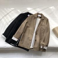 Mooirue Summer Women Blazer Coat Brown Single Breasted Slim Blazer Loose Suit Korean Cardigan Women Tops