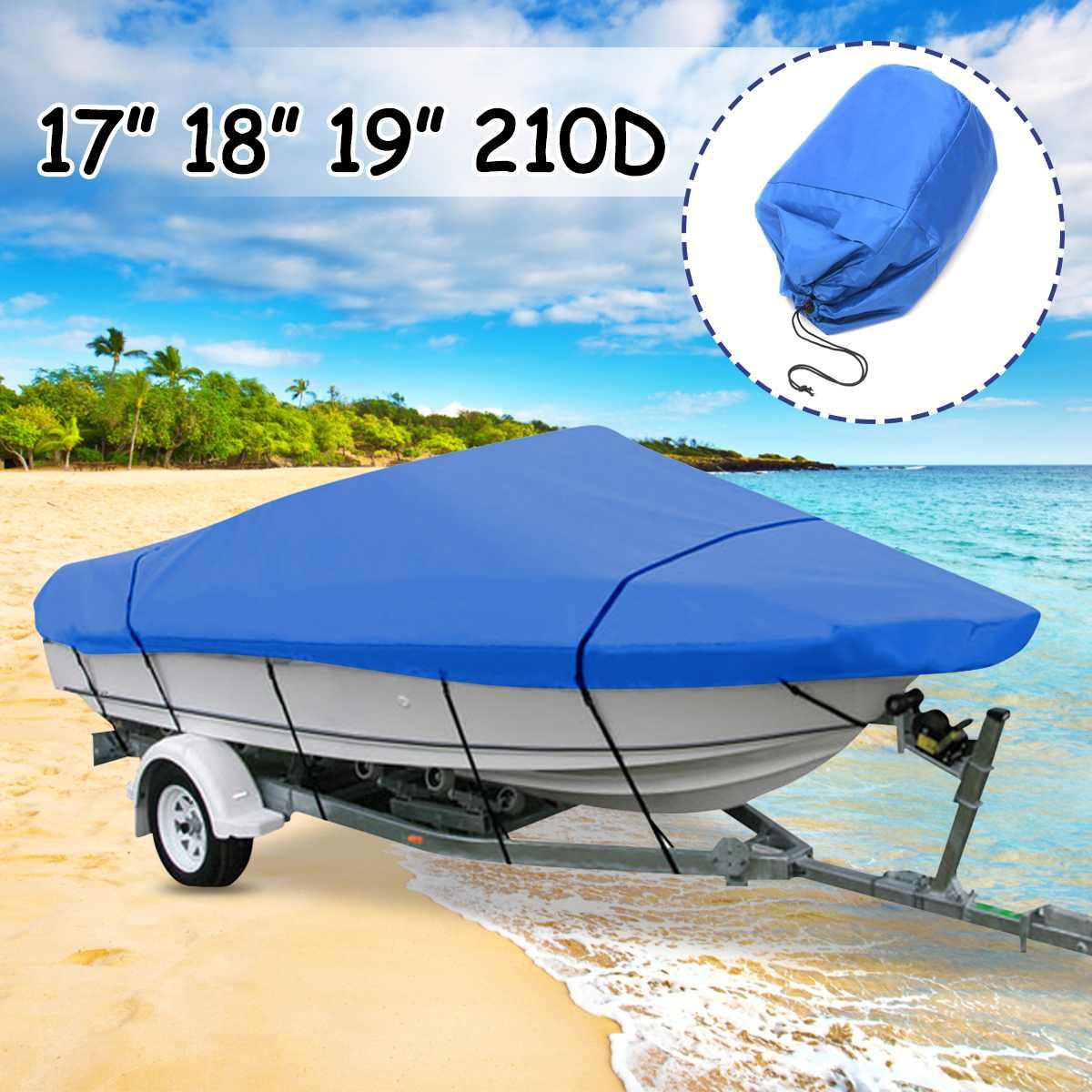 Морской синий экстра Тяжелая лодка для Speedboat Cover 171819 водостойкая Рыбалка Лыжный бас V-Hull 210D