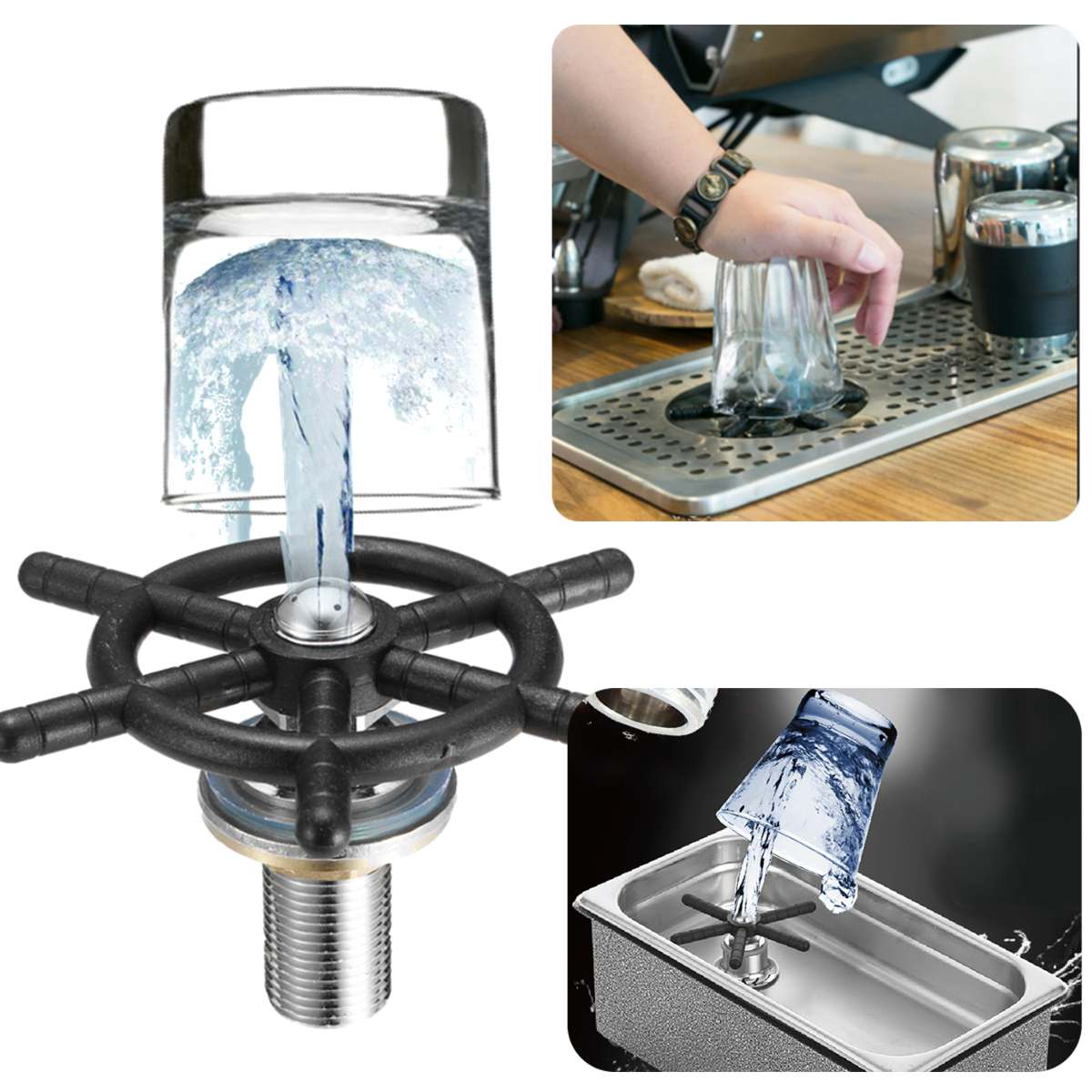 Automatic Stainless Steel Cup Holder Washer Bar Wash Cup Coffee High Pressure Milk Tea Bar Embedded Sink Faucet