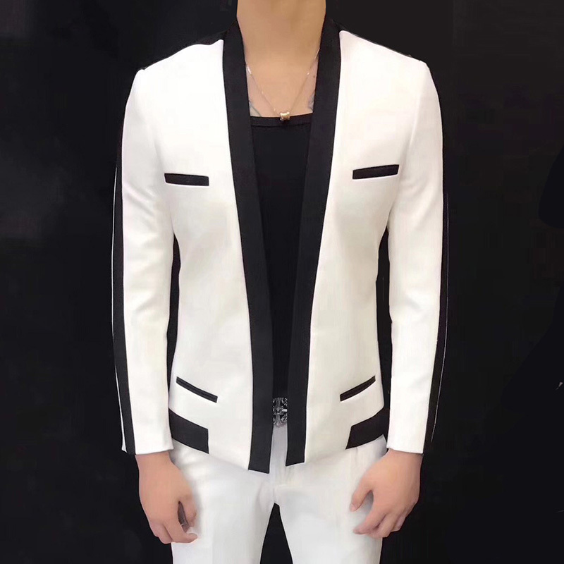 Trend Thin Section Self-cultivation Groom Wedding Man's Suit Veste Homme Costume Hairstyle Division Loose Coat Blazer Masculino