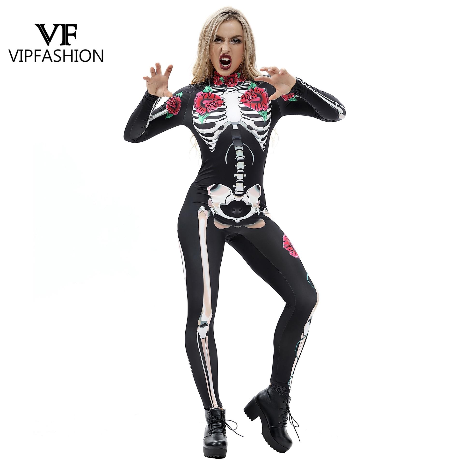 Streng Vip Mode 3d Rose Mechanische Bone Rompertjes Scary Halloween Kostuums Voor Vrouwen Jumpsuit Skelet Schedel Bloemen Vlinder Bodysuit Gemakkelijk Te Repareren