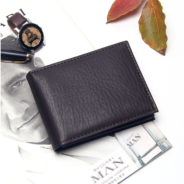 Casual Men's Wallets Leather Solid Luxury Wallet Men Pu Leather Slim Bifold Short Purses Credit Card Holder Business Male Purse 1