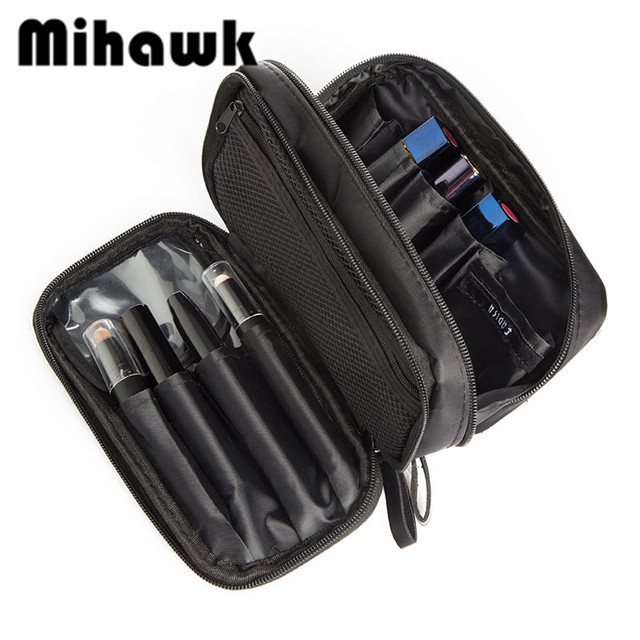 Mihawk Double Layer Cosmetic Bag Travel Organizer Waterproof Makeup Cases  Pouch Beauty Brushes Lipstick Toiletry Accessory Gear 296b21c8383ee