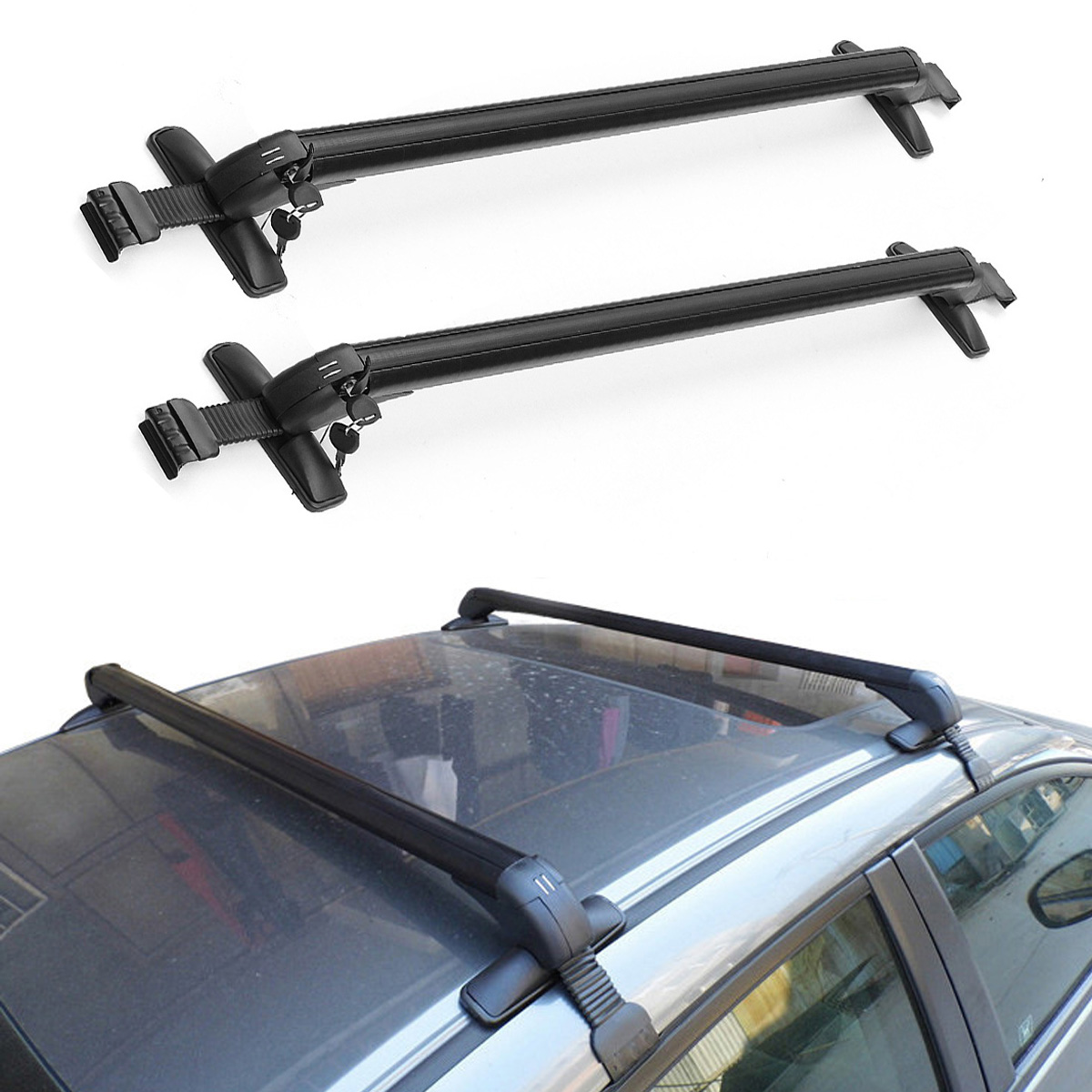 2 Pcs 48 Inch Universal Luggage Cross Bar Car Roof Bars Lockable Anti Theft For SUV With Rails Rack Locking Bar