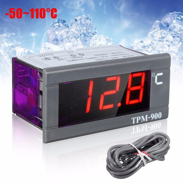 Mini -50 to 110 220V LED Digital Temperature Panel Meter Thermometer With Sensor