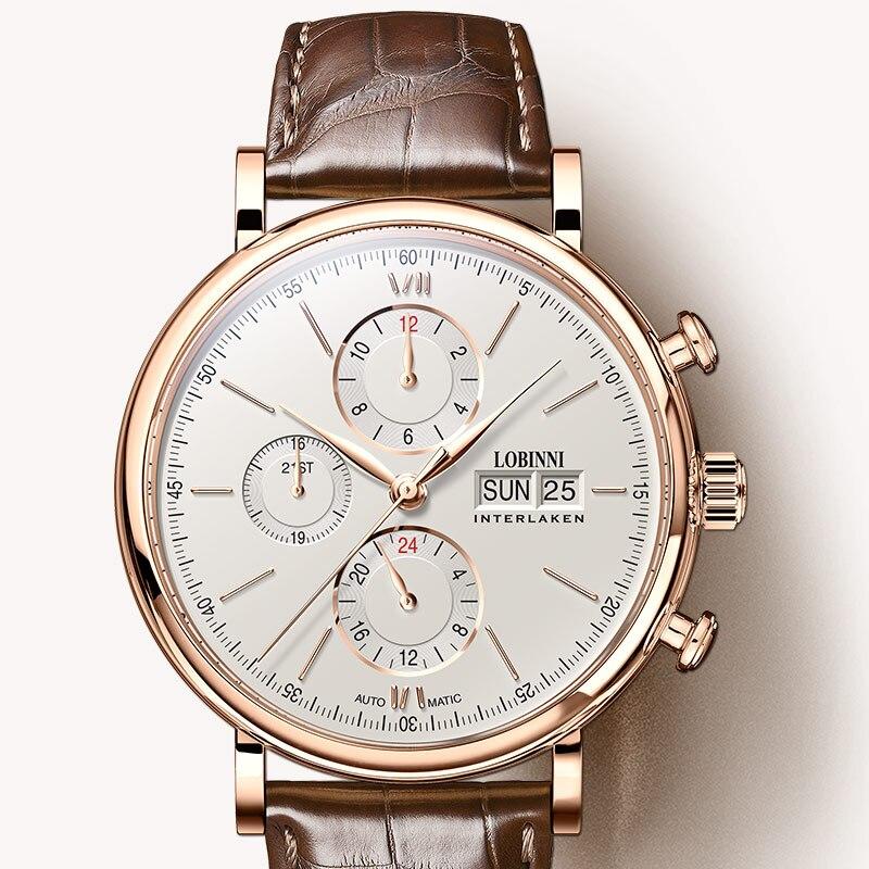 Schweiz LOBINNI Männer Uhren Luxus Marke Perpetual Kalender Auto Mechanische herren Uhr Sapphire Leder relogio L13019 6-in Mechanische Uhren aus Uhren bei  Gruppe 1