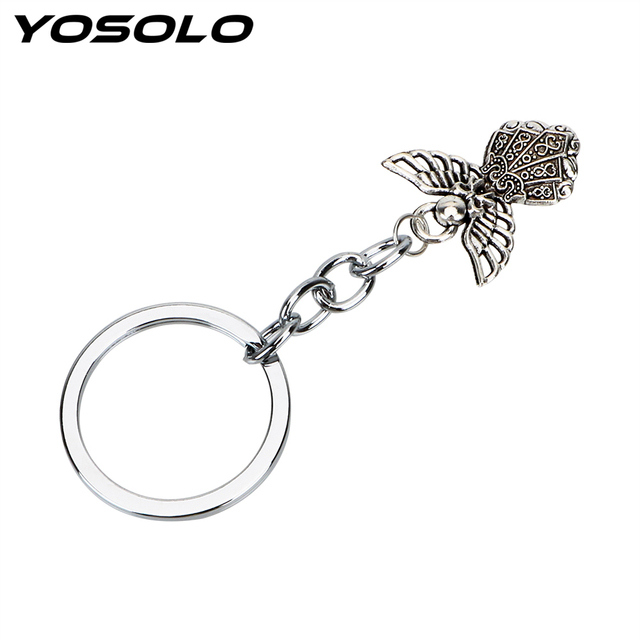 YOSOLO Car Key Rings Keychains Christian Pendant Auto Keyring Guardian Angel Alloy Key Chain Car-styling Accessories Gift
