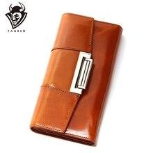 Lśniący połysk skóry wołowej kobiet prawdziwej skóry portfel Ccarteira Feminina moda Vintage długi portfel na zatrzask kobiet monety kiesy średniej długości