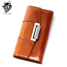 Oil Wax Cowhide Women Genuine Leather Wallet Ccarteira Feminina Fashion Vintage Long Hasp Pocket Womens Coin Purse Medium Long