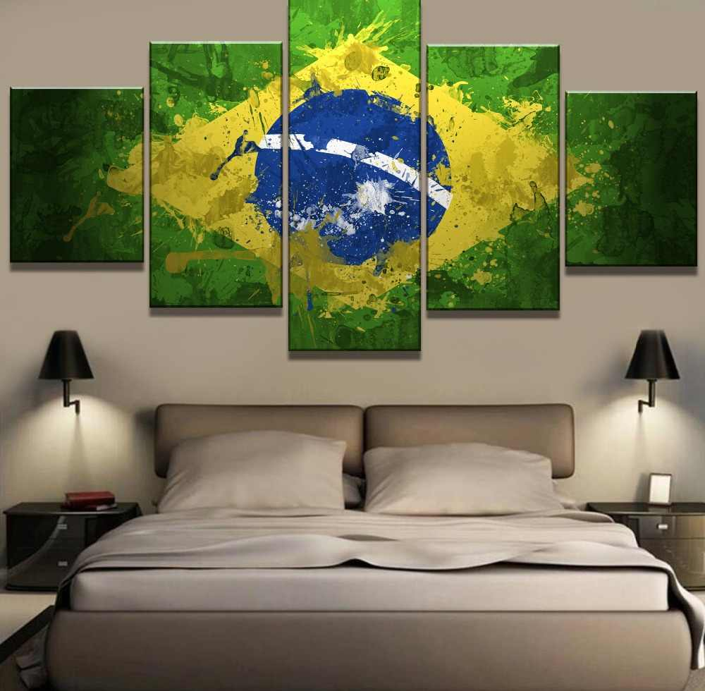 5 Piece Canvas Art Brazil Pride Flag Modern Decorative Paintings on Canvas Wall Art for Home Decorations Wall Decor Wall Picture