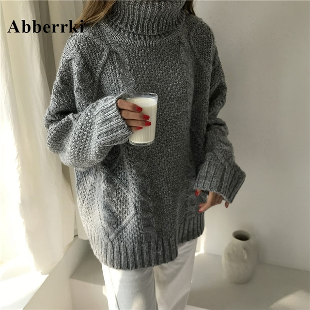 676eacd606b Korean xxl Winter Sweater Women Loose Turtleneck Twist Coarse Knitted Thick  Warm Sweater Dress Pullover Coat