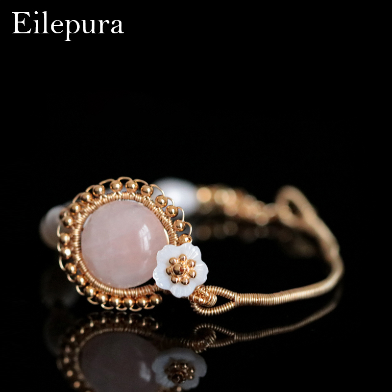 Eilepura Handmade Original Natural Fresh Water Pearl Natural Stone Adjustable Bracelet For Women Wedding Jewelry Femme