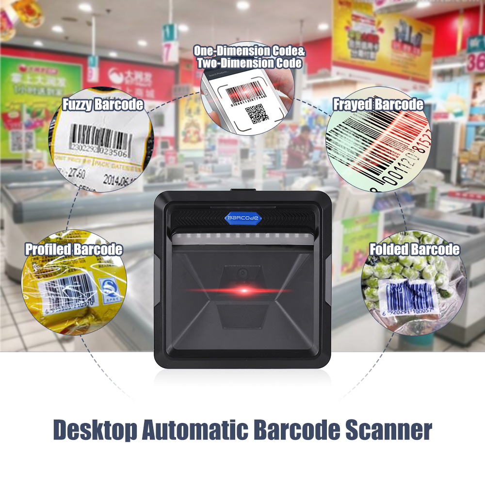 High Speed Barcode Scanner 1D 2D QR Code Bardcode Reader Accurate Code Scanning USB Interface Automatic