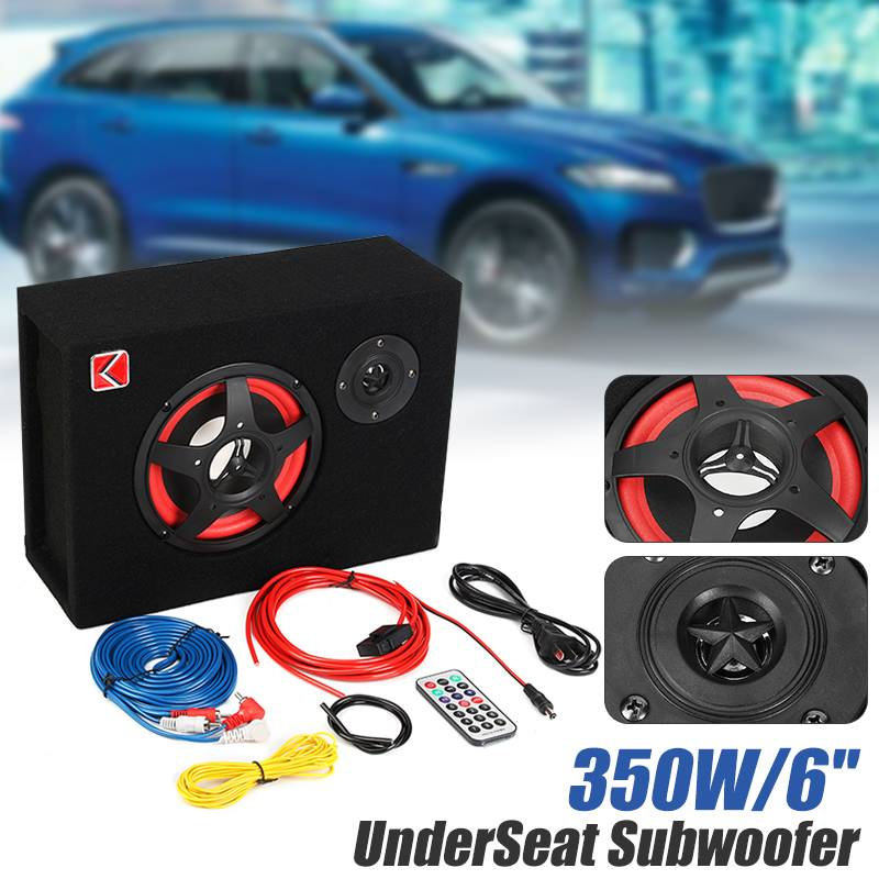 6 Inch 350W Car Subwoofer Under Seat Car Active Subwoofer Speaker Stereo Bass Audio Powered Car Subwoofers Amplifier Active
