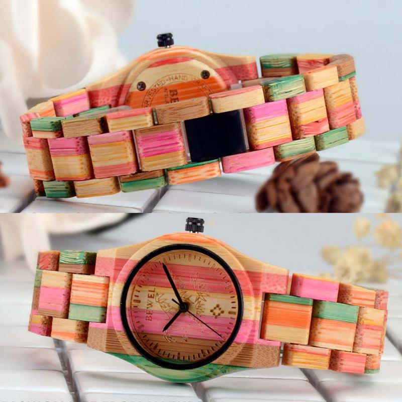 BEWELL Watches Women Top Brand Luxury Colorful Exquisite Bamboo Wooden Watch Fashionable Quartz Wrist Watch For Ladies in Women 39 s Watches from Watches