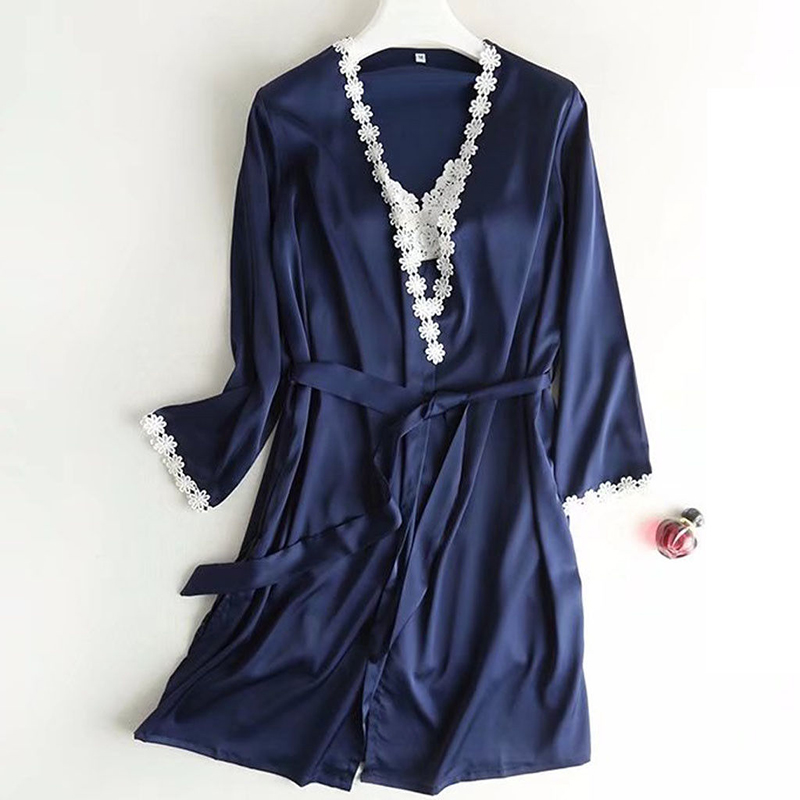 Women Lace Satin Robe Kimono Dressing Gown Party Sleepwear Nightwear Long Sleeve Ladies Sexy Costume Autumn Winter Sale