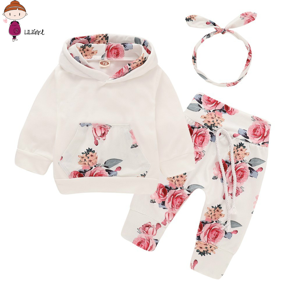 LILIGIRL Baby Girl Clothes Full Set With Headband 3 Pcs Newborn Outfits For Girl Red Infant First Fashion Baby Girl Clothing Set