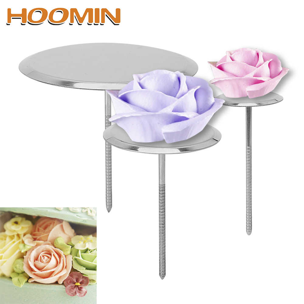 HOOMIN Baking Piping Stands Tools DIY Needle Stick Ice Cream Cake Decorating Tools Cake Flower Nails Stainless Steel Piping Nail