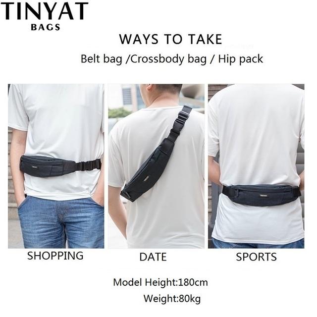 TINYAT Men Waist Bag pack Purse Waterproof Canvas Travel Phone belt bag pouch for Men Women Casual Shoulder Fanny Pack Hip Pack